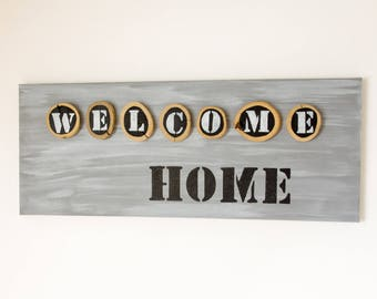 """Drift wood """"welcome home"""" wooden framed canvas"""