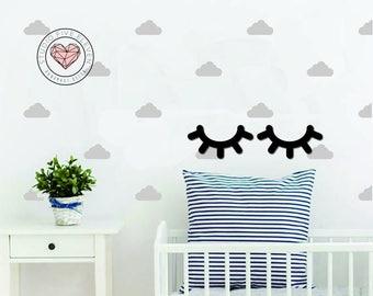 Sleepy Eyes Wall Decal Nursery Sticker Eyes Scandinavian Wall Decal