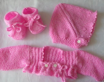 layette set handmade Cardigan, bonnet and booties pink