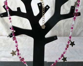 Necklace beads, butterfly and pink stars and bronze 53.5 cm