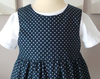 romper 12 months in cotton Navy with polka dots