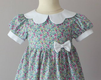 dress 12 months to 18 months in green and pink liberty fabric