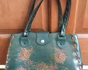 Vintage tooled leather handbag purse