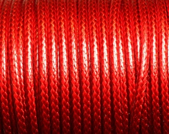Coil 45 meters - wire cord 3mm red waxed cotton cord