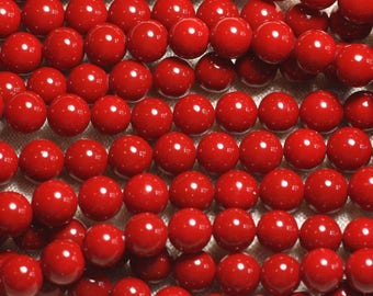 39cm 46pc env - mother of pearl beads wire balls 8 mm Red