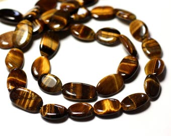 10pc - stone beads - olive 8741140011793-10-15mm oval Tiger eye