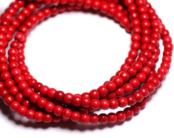 40pc - synthetic Turquoise beads 4mm red 4558550022745 balls