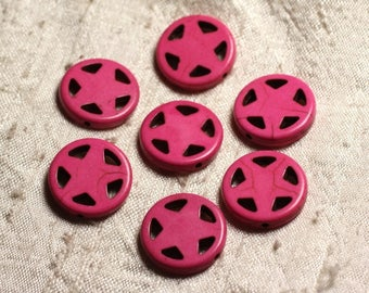 10pc - synthetic Turquoise beads Circle Star 20mm Rose 4558550011664