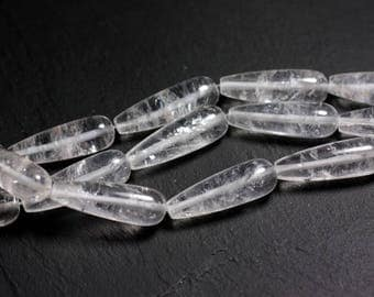 1pc - bead - clear Quartz long drop 30x10mm - 4558550095497