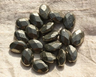 2PC - stone beads - Pyrite Golden faceted 4558550015754 14x10mm oval