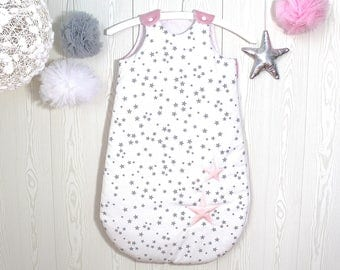 Baby sleeping bag 1-8 months, white with grey stars, plain pink back