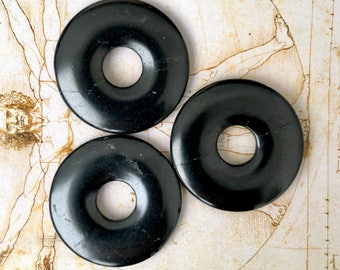 3 shungite donuts for making pendants and necklaces,EMF protection,stone donut,healing crystal donut,elite shungite pendant,schungite energy