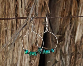 Genuine Turquoise and Sterling Silver Drop Hoop Earrings