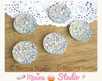 4 20 mm sparkly rhinestone Pearl effect white resin cabochons