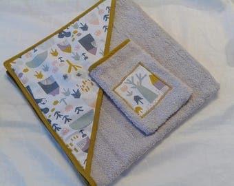 Bath / hooded towel pattern beige sponge dots and Scandinavian style cabin toilet /gant