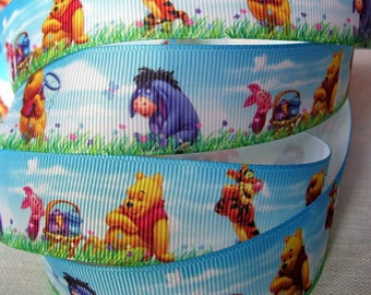 Printed grosgrain Ribbon * 25 mm * WINNIE Pooh and his friends background landscape - sold by the yard