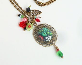 Romantic style necklace Bouquet of polymer clay cabochon retro