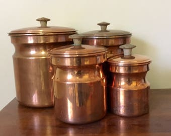Vintage Copper Canisters // Mid Century Modern Copper