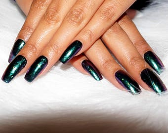 Duo Chrome Green to Purple | Color Shift Press On Nails | Fake Nails | Faux Nails | Coffin, Ballerina, Stiletto, Almond,Round, Square|Custom