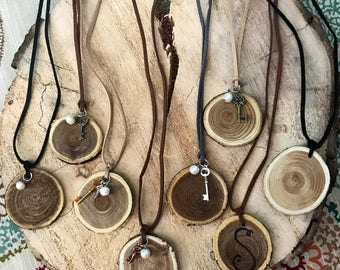 Wood slice necklaces