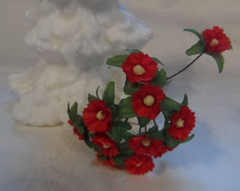 12 red flowers mounted on iron rod for bridal or floral compositions or creations of bouquets