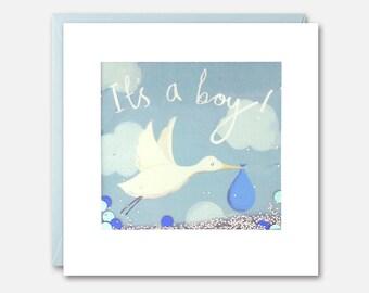 It's A Boy Stork Shakies Card by James Ellis