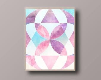 Abstract Art Printable, Scandinavian Print, Watercolor Mandala, Abstract Polygon Print, Abstract Watercolor, Mandala Print, Nursery Room