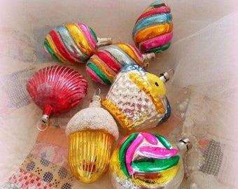 S-A-L-E Vintage Ornament Collection - 6 Glass Christmas Tree Ornaments - Vintage Christmas Tree Ornaments