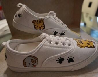 Emoji custom hand painted shoes