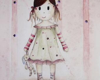 "Postcard from Watercolour pattern ""Miss blanket"""