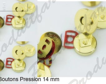 Set 12 snap clasp magnetic bags coat wallet gold 14 mm