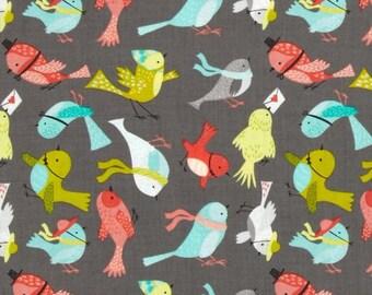 Patchwork birds fabric gray camelot fabric
