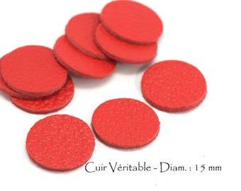 6 round genuine leather - Diam. 15 mm - goat leather - red vermilion color set