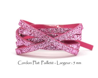 95 CM - glitter - w leather cord: 5 mm / Ep. : 2 mm - pink