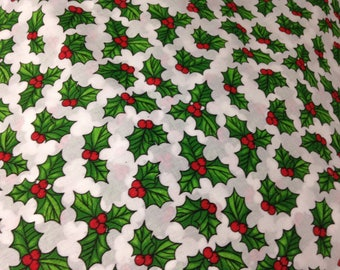 Christmas polycotton fabric sold by the yard, Holly