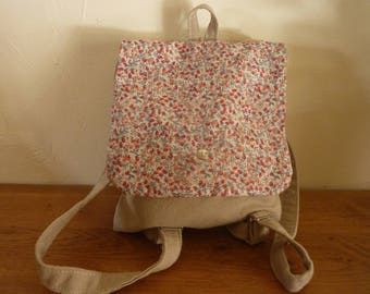 Backpack child linen and liberty fabric