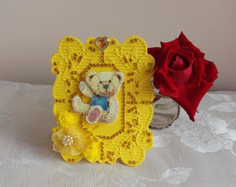 Jeweled photo frame Yellow photo frame Beautiful jeweled frame Brightful nice joyful jeweled frame Redy to use Gift First baby photo frame