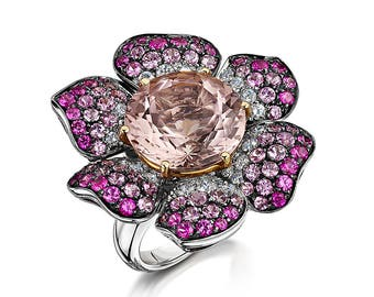 Picchioti ring with morganite, pink sapphire and diamond