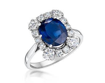 2.81ct sapphire and diamond cluster ring