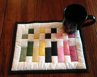 Multicolor mug rug set with 12 oz. mug