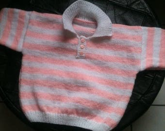 Knitted shirt for babies, striped pink and white size 12 months