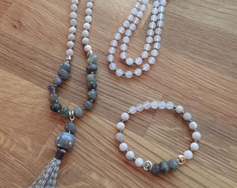 Mala necklace-white jade-white agate-labradorite-zen style-yoga jewelry-medidation-108 beads