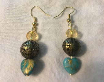 Heart turquoise and gold earrings