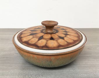 Vintage Glazed Stoneware Dish with Lid