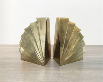 Art Deco Vintage Brass Fan Bookends- 1950s