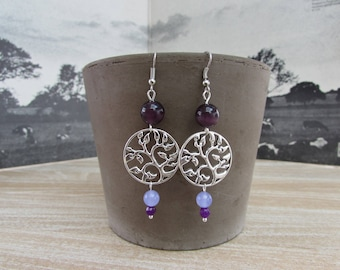 "Natural stones, purple and mauve ""Arabesque"" earrings"