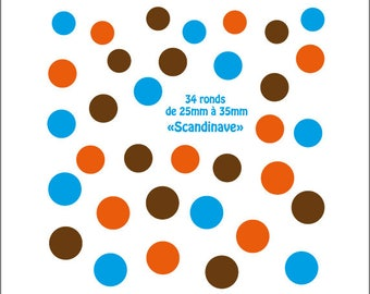 """Wall stickers, dots for a deco style Scandinavian """"scandinave"""" color"""