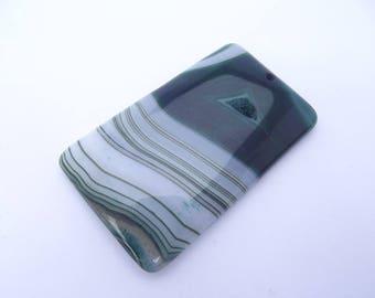 Colored agate druzy CHI-SQUARE-233 rectangular shaped pendant