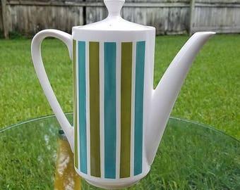 Mid Century Tivoli Teapot or Coffee Pot By Jonas Roberts Vintage (#3122), blue green