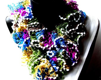 Scarf made ruffle hand crocheted multicolor approximately 150 cm.
